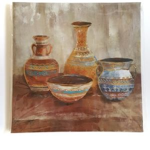 Rustic Clay Pottery Vases Metallic Shift Wall Art